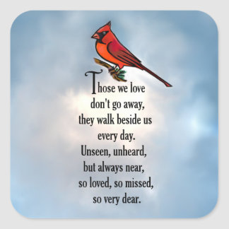 "Cardinal ""So Loved"" Poem Square Sticker"