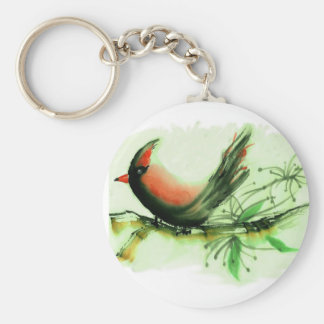 Cardinal - Sumi-e ink painting Key Chains