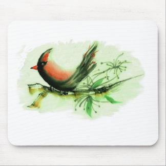 Cardinal - Sumi-e ink painting Mouse Pad