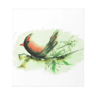 Cardinal - Sumi-e ink painting Notepad