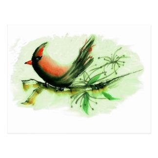 Cardinal - Sumi-e ink painting Postcard
