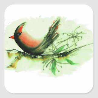 Cardinal - Sumi-e ink painting Square Sticker
