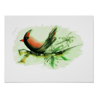 Cardinal, Sumi-e with colored ink Poster
