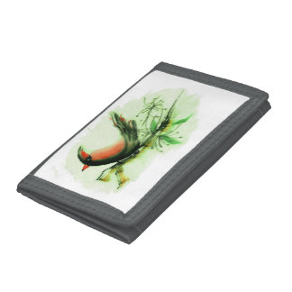 Cardinal, Sumi-e with colored ink Trifold Wallets