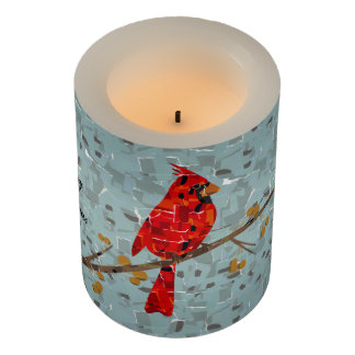 Cardinal the bird of Christmas Collage Flameless Candle