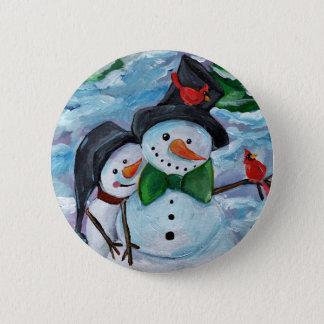 Cardinal visiting Snowmen Pinback Button