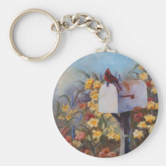 Cardinal Waiting For the Mail Basic Round Button Keychain