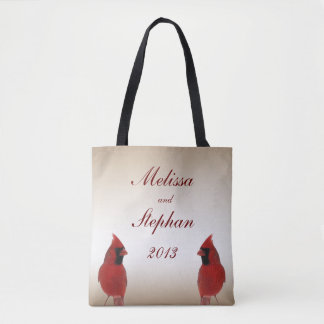 Cardinal Wedding Bride and Groom Tote Bag