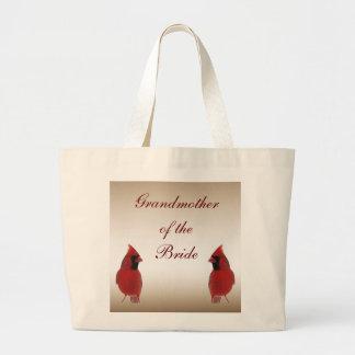 Cardinal Wedding Grandmother of the Bride Jumbo Tote Bag