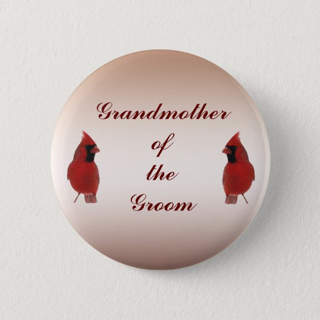 Cardinal Wedding Grandmother of the Groom Pin