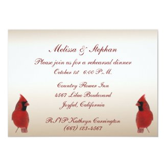 Cardinal Wedding Rehearsal Dinner  Invitation Card
