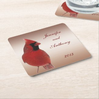 Cardinal Wedding Square Paper Coaster