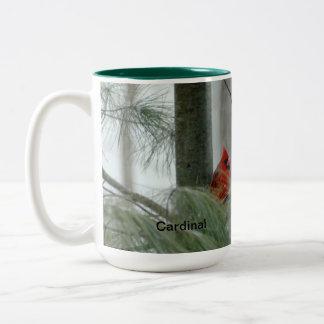 cardinal, winter, evergreen photo Two-Tone coffee mug