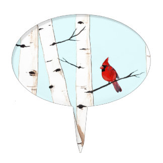 Cardinal with Birch Trees Cake Topper