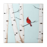 """Cardinal with Birch Trees Ceramic Tile<br><div class=""""desc"""">There&#39;s something so peaceful about a red cardinal nestled between white birch trees that we all love.  This image is an original painting by Michelle Meyer.</div>"""