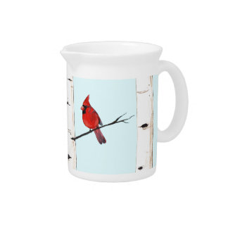 Cardinal with Birch Trees Drink Pitcher