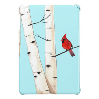 Cardinal with Birch Trees iPad Mini Cases
