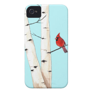 Cardinal with Birch Trees iPhone 4 Case-Mate Case