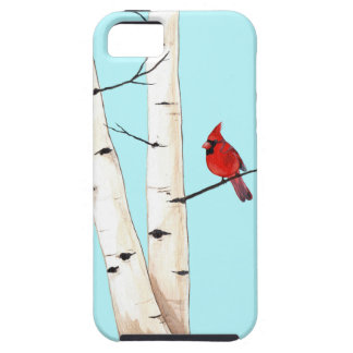 Cardinal with Birch Trees iPhone SE/5/5s Case