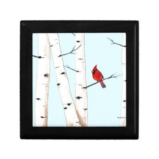 Cardinal with Birch Trees Keepsake Box