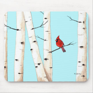 Cardinal with Birch Trees Mouse Pad