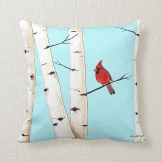 Cardinal with Birch Trees Pillow
