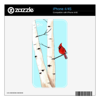 Cardinal with Birch Trees Skin For The iPhone 4S