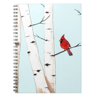 Cardinal with Birch Trees Spiral Notebook