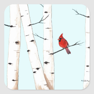 Cardinal with Birch Trees Square Sticker