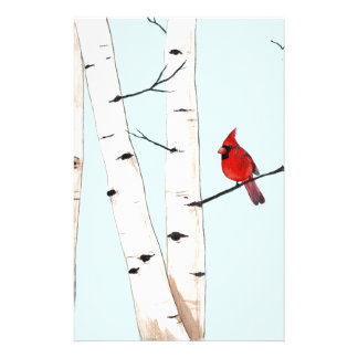 Cardinal with Birch Trees Stationery