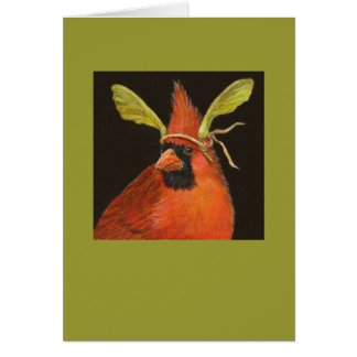 cardinal with maple seed hat on card