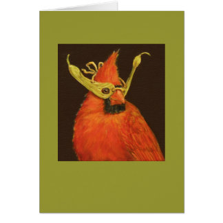 cardinal with maple seed mask card