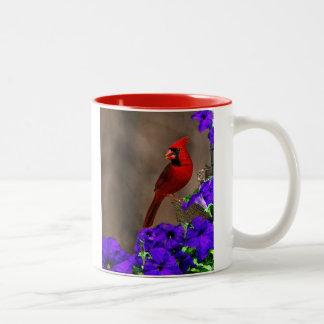 Cardinal with Petunias Two-Tone Coffee Mug