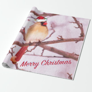 Cardinal With Santa Hat Wrapping Paper