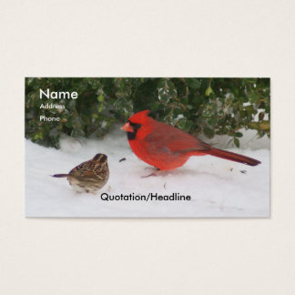 Cardinal with Sparrow Business Card