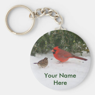 Cardinal with Sparrow Basic Round Button Keychain