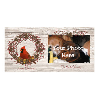 Cardinal Wreath Photo Card