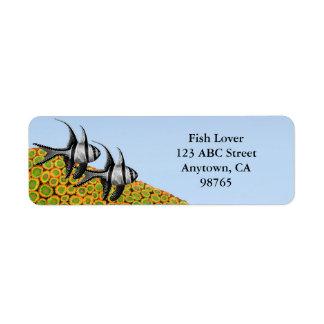 Cardinalfish de Banggai y etiquetas de los corales Etiqueta De Remite