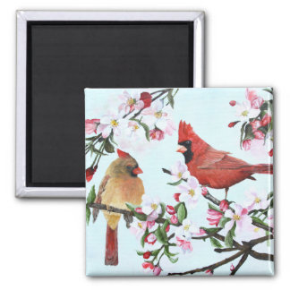 Cardinals and Apple Blossoms 2 Inch Square Magnet