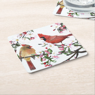 Cardinals and Apple Blossoms Square Paper Coaster