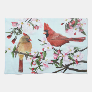 Cardinals and Apple Blossoms Towel