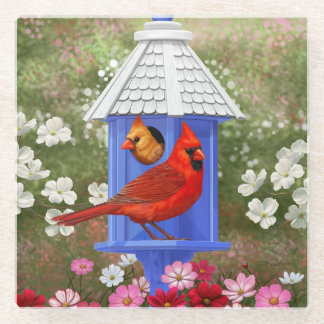 Cardinals and Blue Birdhouse Glass Coaster