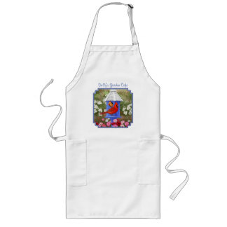 Cardinals and Blue Birdhouse Long Apron