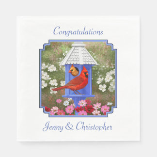 Cardinals and Blue Birdhouse Paper Napkin