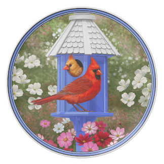 Cardinals and Blue Birdhouse Plate