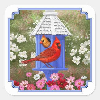 Cardinals and Blue Birdhouse Square Sticker