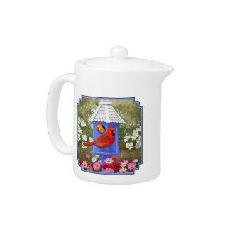 Cardinals and Blue Birdhouse Teapot