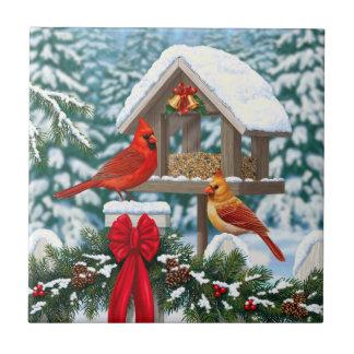 Cardinals and Christmas Bird Feeder Ceramic Tile