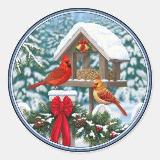 Cardinals and Christmas Bird Feeder Classic Round Sticker