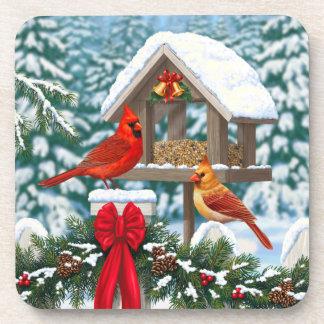 Cardinals and Christmas Bird Feeder Drink Coaster